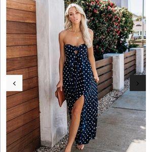 Vici 'Pretty Women' Polka Dot Slit Maxi Dress